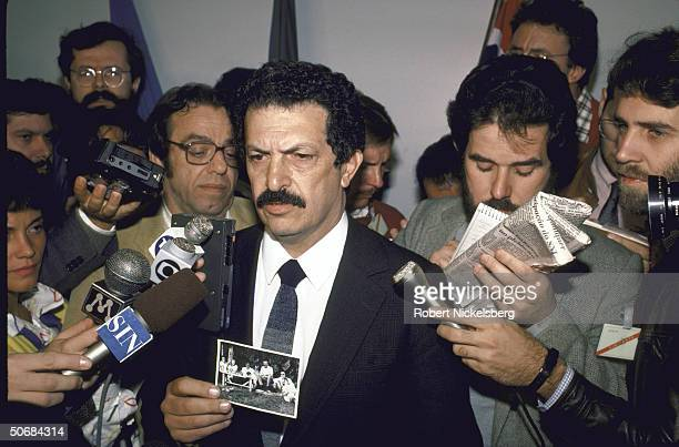 Brazilian Detective/ Police Superintendant Romeu Tuma being interviewed by press during investigation of supposed death of infamous Nazi doctor...