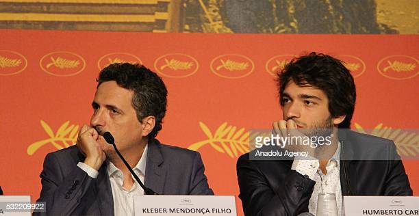 Brazilian director Kleber Mendonca Filho and actor Humberto Carrao attend a press conference for 'Aquarius' during the 69th annual Cannes Film...