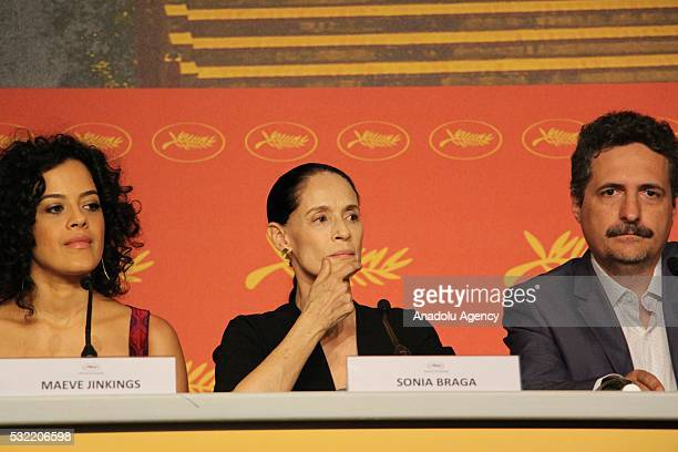 Brazilian director Kleber Mendonca Filho Brazilian actresses Maeve Jinkings and Sonia Braga attend a press conference for 'Aquarius' during the 69th...