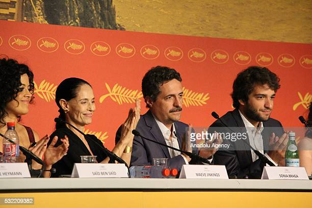 Brazilian director Kleber Mendonca Filho Brazilian actresses Maeve Jinkings Sonia Braga and actor Humberto Carrao attend a press conference for...