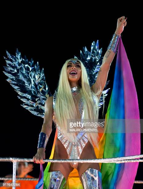 Brazilian drag queen and singer Pabllo Vittar parades with the BeijaFlor samba school during the second night of Rio's Carnival at the Sambadrome in...