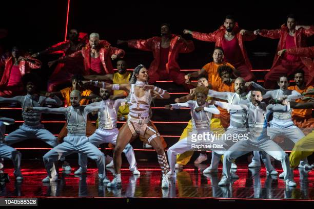 Brazilian drag queen and singer Pabllo Vittar performs at 2018 Multishow Awards at Rio Olympic Arena on September 25 2018 in Rio de Janeiro Brazil