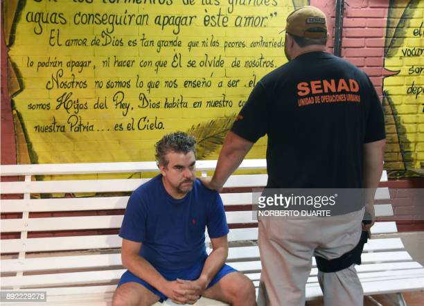 Brazilian drug lord Marcelo Fernando Pinheiro Veiga nicknamed Marcelo Piloto' is presented to the press in the headquarters of the Paraguayan...
