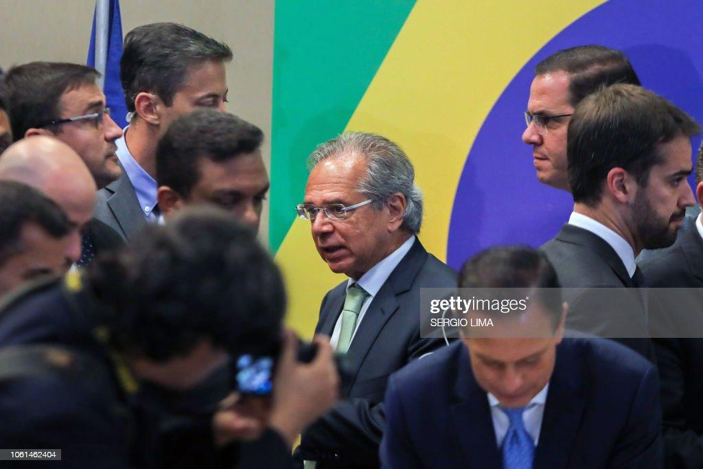 BRAZIL-POLITICS-BOLSONARO-GUEDES : News Photo