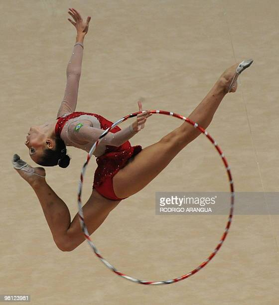 Brazilian Eliane Sampaio competes in the individual hoop competition in rhythmic gimnastics during the IX South American Games in Medellin Antioquia...
