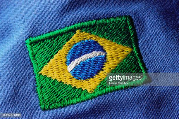 brazilian embroidered flag patch - embroidery stock pictures, royalty-free photos & images
