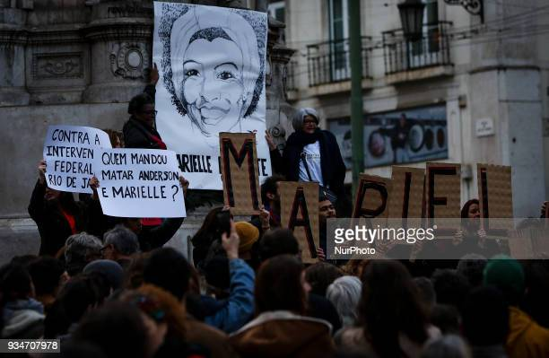 Brazilian expats protest against the killing of Rio de Janeiro's left councilwoman and activist Marielle Franco in Lisbon Portugal on March 19 2018...