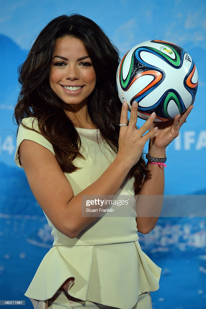 ARD brazilian expert and television presenter, Fernanda Brandao is pictured during the ARD/ZDF FIFA World Cup 2014 team presentation event on April 3, 2014 in Hamburg, Germany.