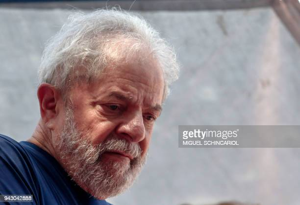 Brazilian expresident Luiz Inacio Lula da Silva gestures during a Catholic mass in memory of his late wife Marisa Leticia at the metalworkers' union...