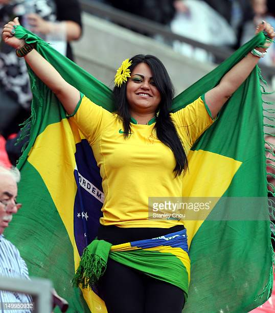 Brazilian fan cheers during the Men's Football Semi Final match between Korea and Brazil on Day 11 of the London 2012 Olympic Games at Old Trafford...