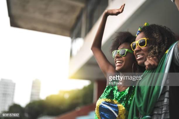 amigos de fã brasileiro comemorando em um jogo de futebol - evento de futebol internacional - fotografias e filmes do acervo
