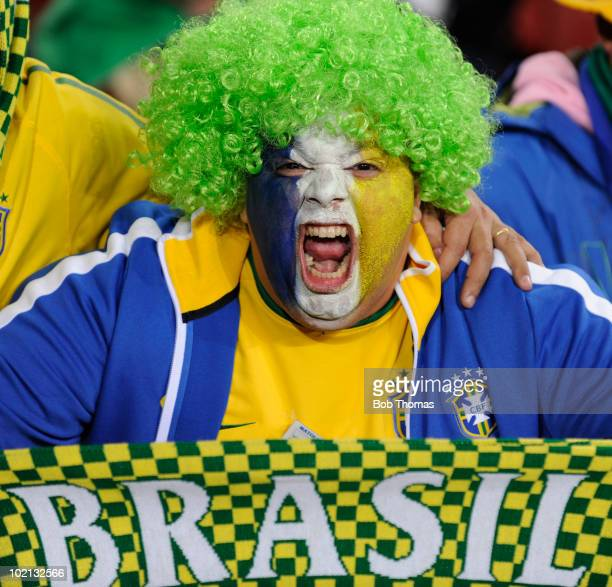 Brazilian fan shows excitement before the start of the 2010 FIFA World Cup South Africa Group G match between Brazil and North Korea at Ellis Park...