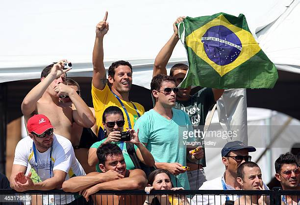 Brazilian fans at Parc JeanDrapeau during the 15th FINA World Masters Championships on August 04 2014 in Montreal Canada