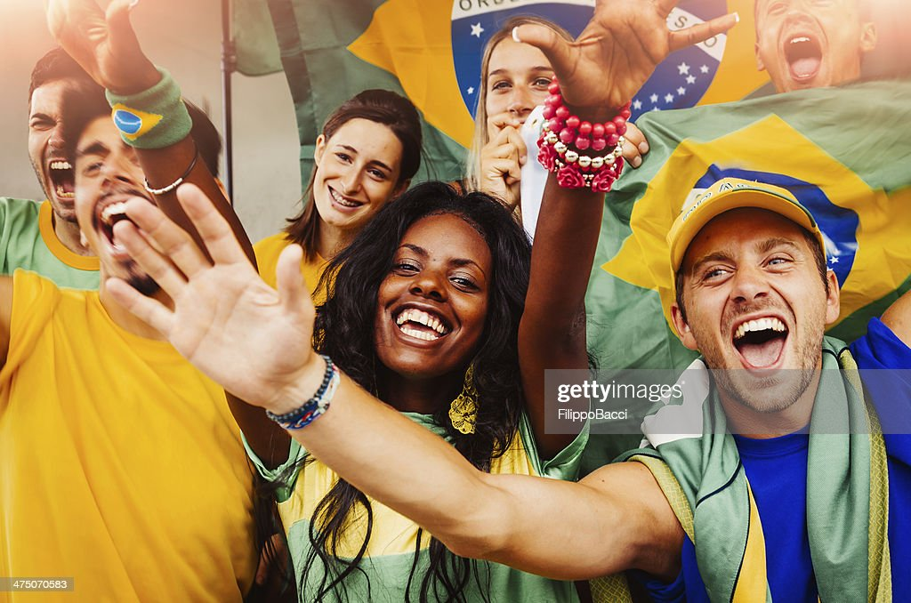 Brazilian Fans at Stadium : Stock Photo