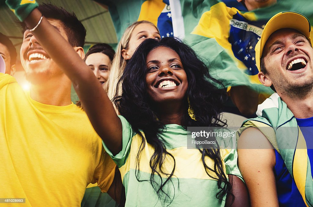 Brazilian Fans at Stadium : Stock Photo