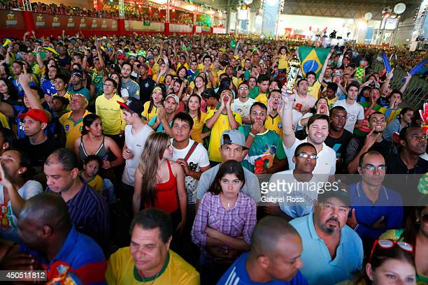 Brazilian fans during the FIFA Fan Fest for the opening game of the FIFA World Cup 2014 between Brazil and Croatia at ExpoMinas on June 12, 2014 in...