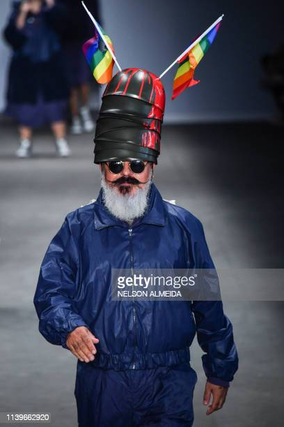 Brazilian fashion designer Ronaldo Fraga presents a creation by Led during the Sao Paulo Fashion Week in Sao Paulo Brazil on April 27 2019