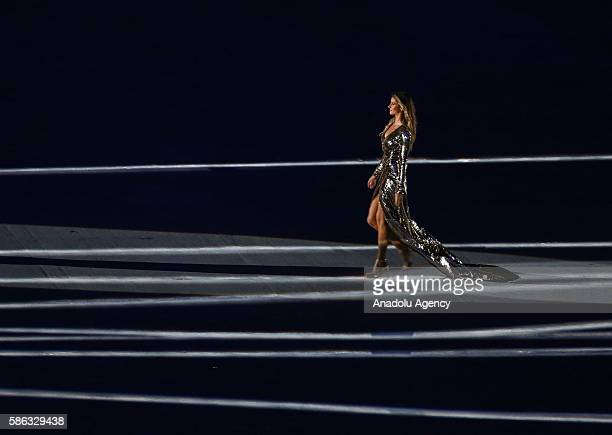 Brazilian fashion model and producer Gisele Bundchen participates the Opening Ceremony of the Rio 2016 Olympic Games at Maracana Stadium in Rio de...