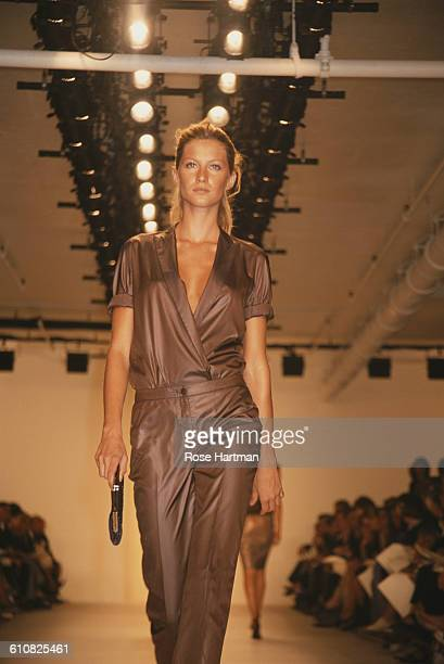 Brazilian fashion model Gisele at a Calvin Klein fashion show New York City 1990