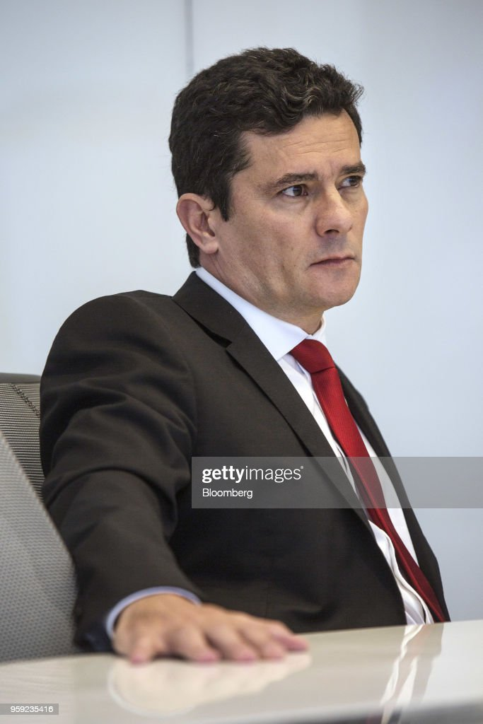 Brazilian Federal Judge Sergio Moro listens during an interview in New York, U.S., on Wednesday, May 16, 2018. Moro is the lead prosecutor in Brazil's biggest corruption cases. Photographer: Victor J. Blue/Blomberg