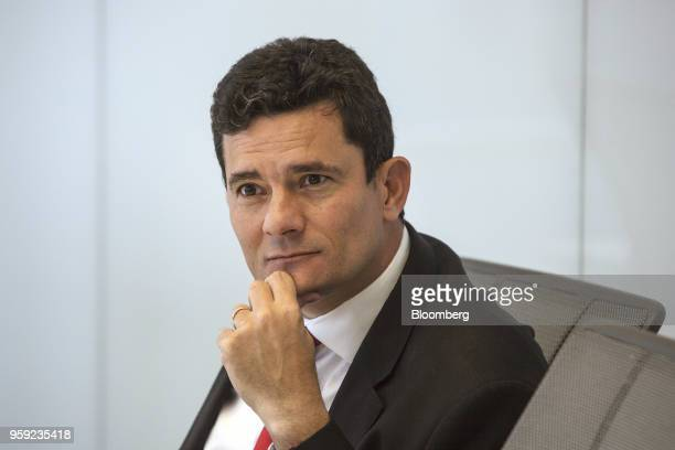 Brazilian Federal Judge Sergio Moro listens during an interview in New York US on Wednesday May 16 2018 Moro is the lead prosecutor in Brazil's...