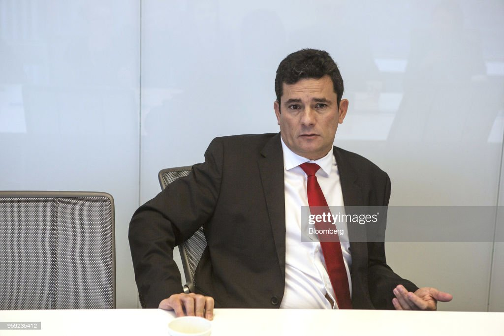 Brazilian Federal Judge Sergio Moro speaks during an interview in New York, U.S., on Wednesday, May 16, 2018. Moro is the lead prosecutor in Brazil's biggest corruption cases. Photographer: Victor J. Blue/Blomberg
