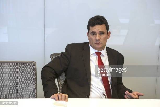 Brazilian Federal Judge Sergio Moro speaks during an interview in New York US on Wednesday May 16 2018 Moro is the lead prosecutor in Brazil's...