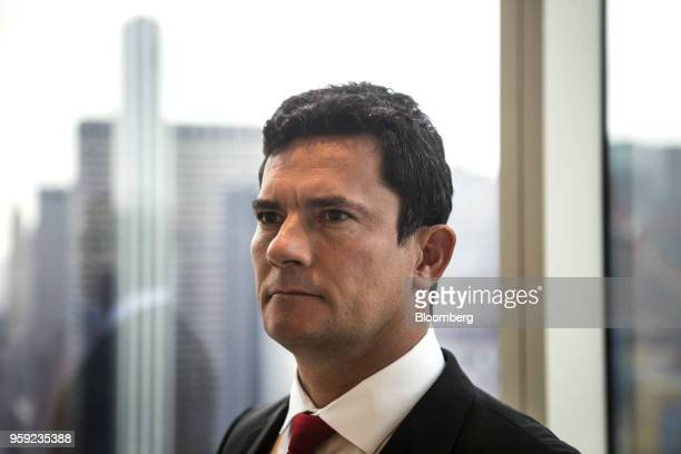 Brazilian Federal Judge Sergio Moro stands for a photograph before an interview in New York US on Wednesday May 16 2018 Moro is the lead prosecutor...