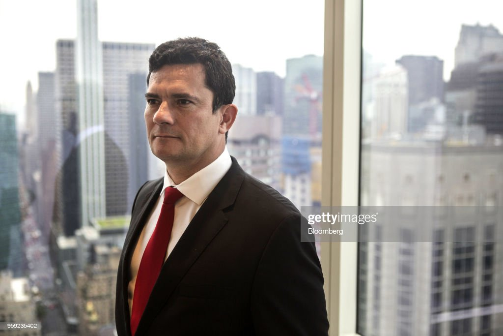 Brazilian Federal Judge Sergio Moro stands for a photograph before an interview in New York, U.S., on Wednesday, May 16, 2018. Moro is the lead prosecutor in Brazil's biggest corruption cases. Photographer: Victor J. Blue/Blomberg