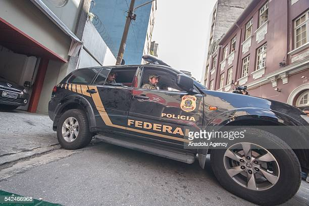 Brazilian Federal Police with search and seizure warrant, surround the national headquarters of the Worker's Party for the collection of evidence...