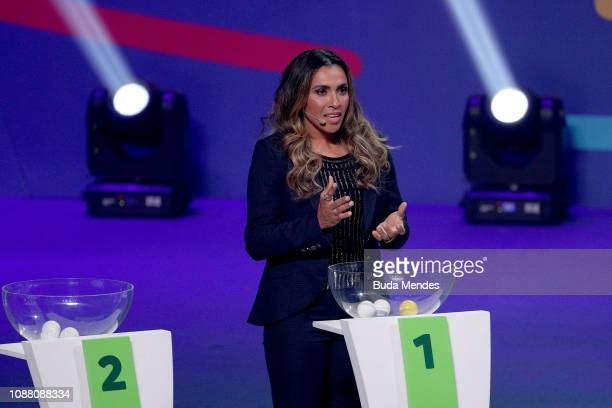 Brazilian Female National Team player Marta speaks during the Copa America 2019 Official Draw at Cidade das Artes on January 24 2019 in Rio de...