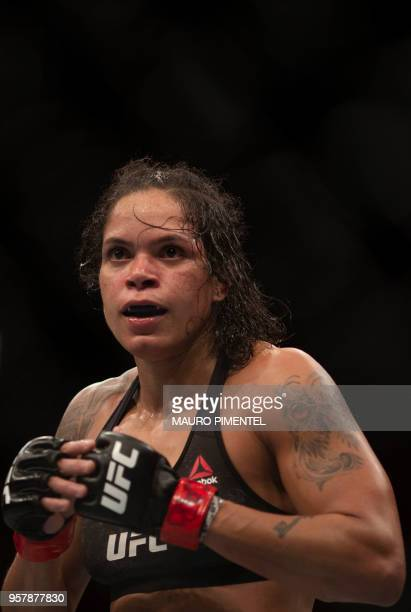 Brazilian fighter Amanda Nunes competes against US fighter Raquel Pennington during their women's bantamweight title fight at the Ultimate Fighting...