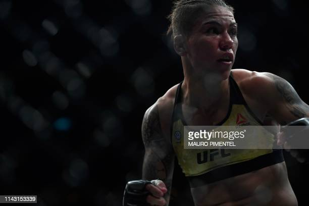 Brazilian fighter Jessica Andrade is seen competing against US fighter Rose Namajunas during their women's strawweight title bout at the Ultimate...