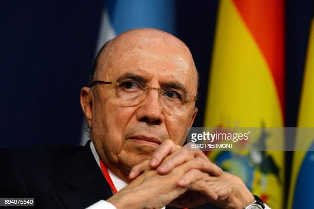 Brazilian Finance Minister Henrique Meirelles attends the 2017 International Economic Forum on Latin America and the Caribbean at the French economy...