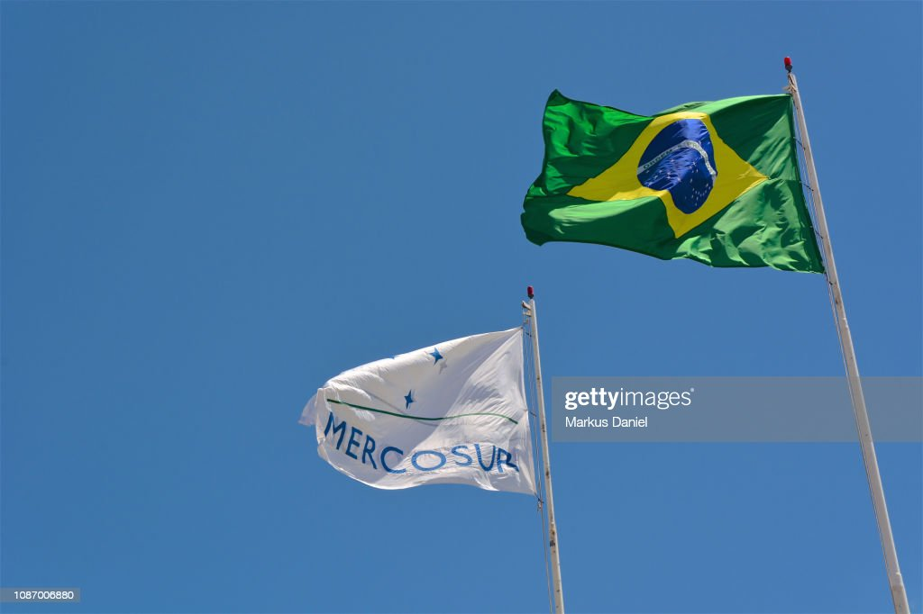 Brazilian Flag and Mercosur Flag : Stock-Foto