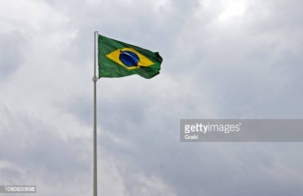 Brazilian Flag cloudy day