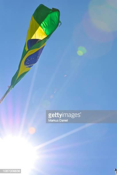 Brazilian Flag in front of Palácio da Alvorada (Alvorada Palace)