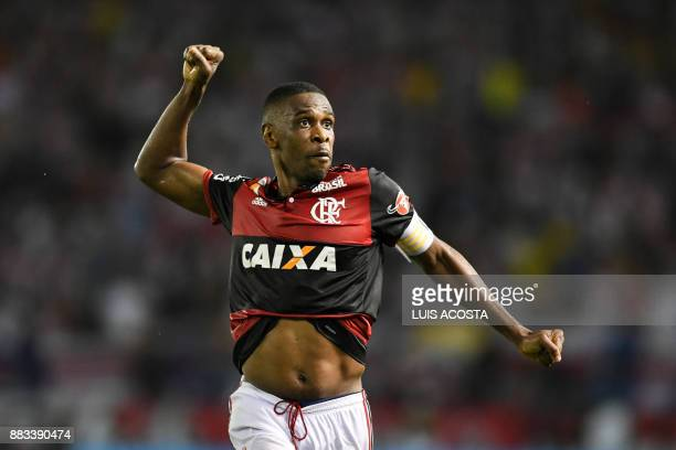 Brazilian Flamengo defender Juan celebrates his victory over Colombian Junior during their Copa Sudamericana semifinal second leg football match at...