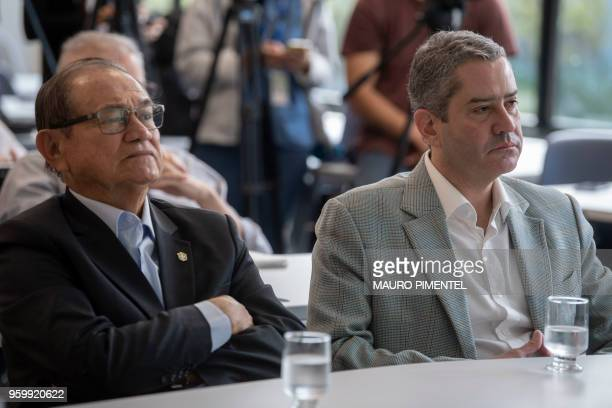 Brazilian Football Confederation's president Coronel Nunes and presidentelect Rogerio Caboclo who starts his team in 2019 attend on May 18 2018 a...