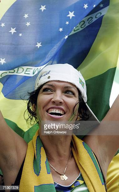 Brazilian football fan celebrates the victory of her team after a live-broadcast of the Round of 16 Brazil v Ghana matchon June 27, 2006 in Dortmund,...