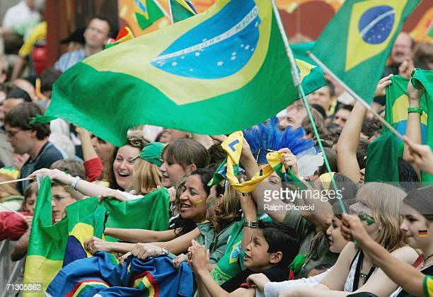 Brazilian football fans celebrate the goal of their team during a live-broadcast of the World Cup match on June 27, 2006 in Dortmund, Germany. Brazil...
