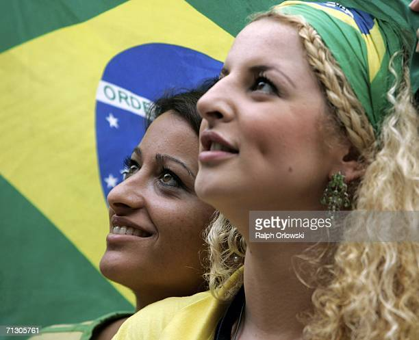 Brazilian football fans watch a life-broadcast of a World Cup match on June 27, 2006 in Dortmund, Germany. Brazil plays against Ghana in their first...