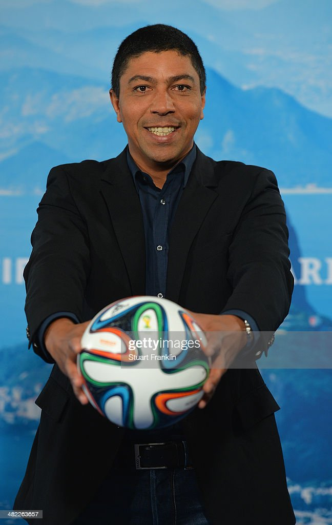 Brazilian football legend and television expert Giovanne Elber is pictured during the ARD/ZDF FIFA World Cup 2014 team presentation event on April 3, 2014 in Hamburg, Germany.