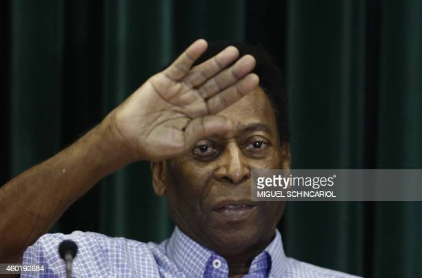 Brazilian football legend Edson Arantes do Nascimento known as Pele offers a press conference after being released from hospital in Sao Paulo Brazil...