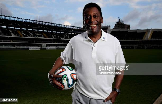 Brazilian football legend Pele poses in during a visit at stadium Vila Belmiro on May 17 2014 in Santos Brazil