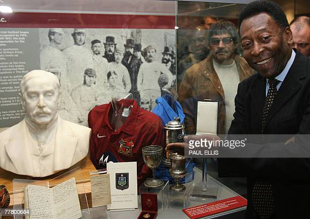 Brazilian football legend Pele receives membersip of Sheffield FC the oldest football club in the world at the opening of an exhibition at Sheffield...