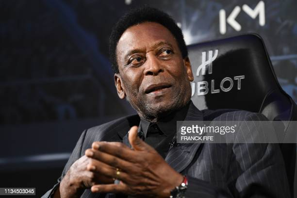 Brazilian football legend Pele speaks during a meeting with Paris SaintGermain and France national football team forward Kylian Mbappe at the Hotel...