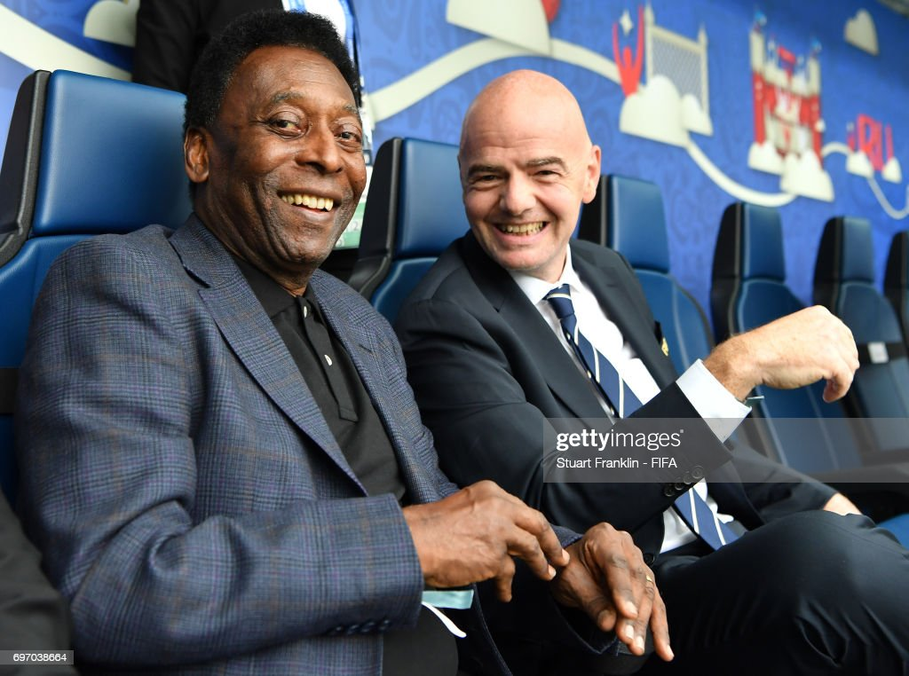 Brazilian football legend Pele talks with FIFA president Gianni Infantino prior to the FIFA Confederations Cup Group A match between Russia and New Zealand at Saint Petersburg Stadium on June 17, 2017 in Saint Petersburg, Russia.