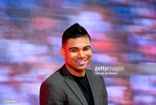 Brazilian football player Carlos Henrique Casemiro poses for photo during the signing of the sponsorship agreement between Real Madrid CF and Mahou 5...