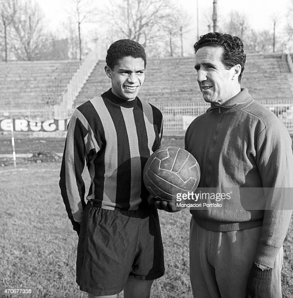 Brazilian football player Jair de Costa wearing the Inter suit and posing beside Argentinian football player and coach of the Inter team Helenio...